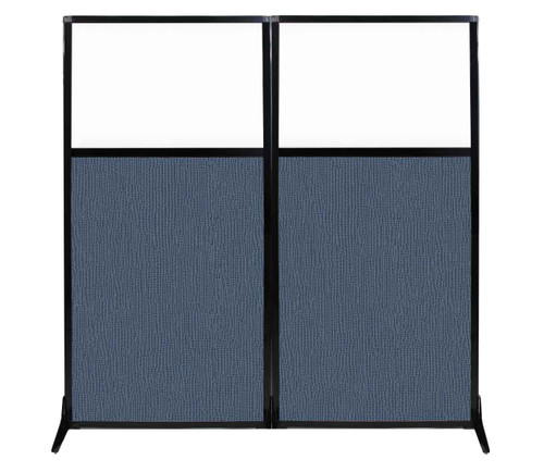 "Work Station Screen 66"" x 70"" Ocean Fabric With Clear Window"