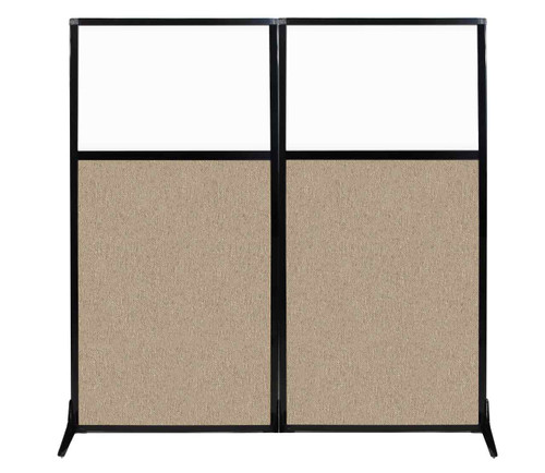 "Work Station Screen 66"" x 70"" Rye Fabric With Clear Window"