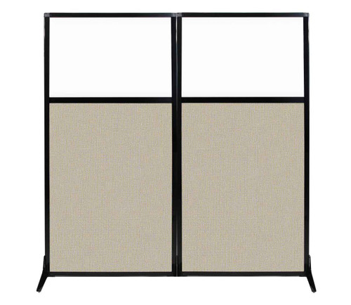 "Work Station Screen 66"" x 70"" Sand Fabric With Clear Window"