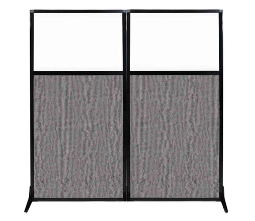 "Work Station Screen 66"" x 70"" Slate Fabric With Clear Window"