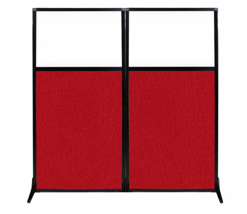 "Work Station Screen 66"" x 70"" Red Fabric With Clear Window"