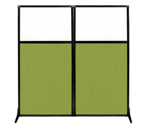 """Work Station Screen 66"""" x 70"""" Lime Green Fabric With Clear Window"""