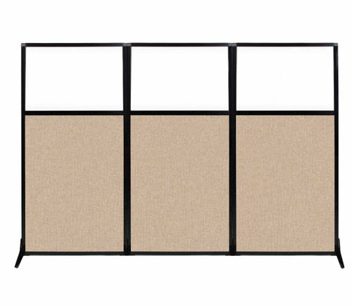 "Work Station Screen 99"" x 70"" Beige Fabric With Clear Window"