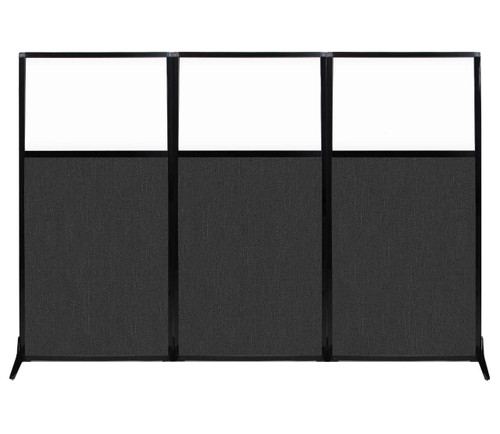 "Work Station Screen 99"" x 70"" Black Fabric With Clear Window"