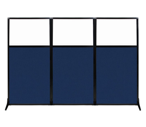 """Work Station Screen 99"""" x 70"""" Navy Blue Fabric With Clear Window"""