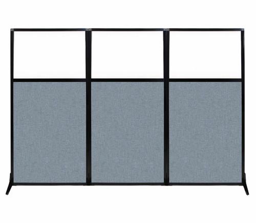 "Work Station Screen 99"" x 70"" Powder Blue Fabric With Clear Window"