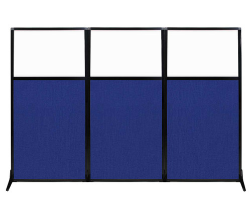 """Work Station Screen 99"""" x 70"""" Royal Blue Fabric With Clear Window"""