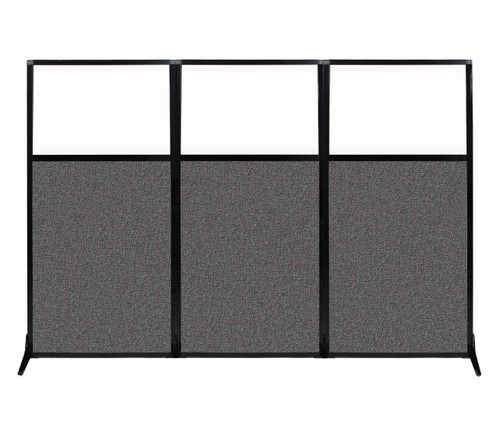 """Work Station Screen 99"""" x 70"""" Charcoal Gray Fabric With Clear Window"""