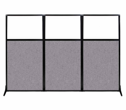 """Work Station Screen 99"""" x 70"""" Cloud Gray Fabric With Clear Window"""
