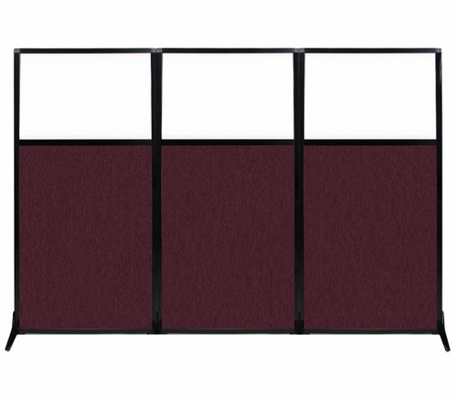 "Work Station Screen 99"" x 70"" Cranberry Fabric With Clear Window"