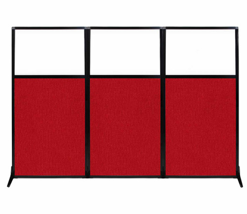 "Work Station Screen 99"" x 70"" Red Fabric With Clear Window"