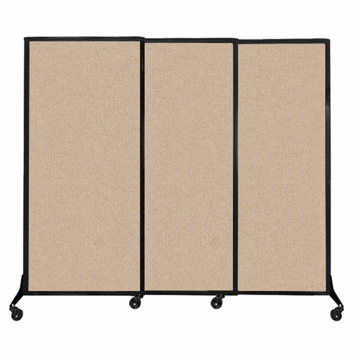 "QuickWall Sliding Portable Partition 7' x 5'10"" Beige Fabric"