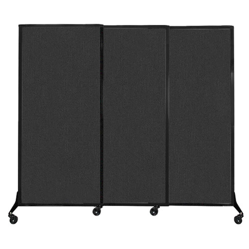 "QuickWall Sliding Portable Partition 7' x 5'10"" Black Fabric"