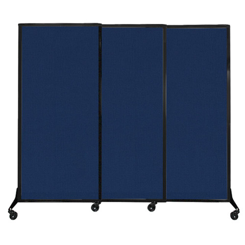 "QuickWall Sliding Portable Partition 7' x 5'10"" Navy Blue Fabric"
