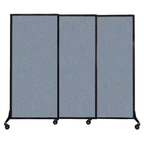 "QuickWall Sliding Portable Partition 7' x 5'10"" Powder Blue Fabric"