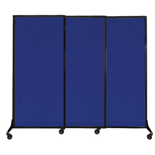 "QuickWall Sliding Portable Partition 7' x 5'10"" Royal Blue Fabric"