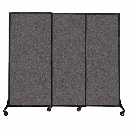 "QuickWall Sliding Portable Partition 7' x 5'10"" Charcoal Gray Fabric"