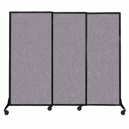 """QuickWall Sliding Portable Partition 7' x 5'10"""" Cloud Gray Fabric"""