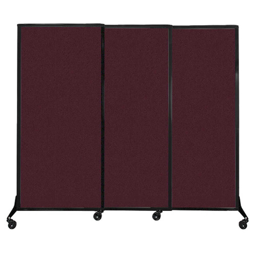 "QuickWall Sliding Portable Partition 7' x 5'10"" Cranberry Fabric"