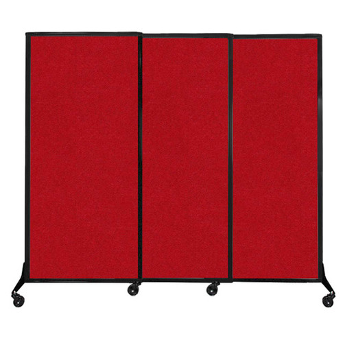 """QuickWall Sliding Portable Partition 7' x 5'10"""" Red Fabric"""