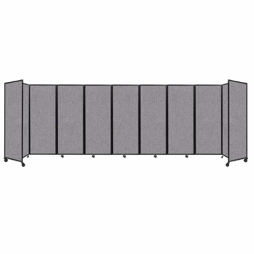 """Room Divider 360 Folding Portable Partition 25' x 7'6"""" Cloud Gray Fabric"""