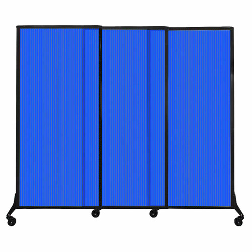 "QuickWall Sliding Portable Partition 7' x 5'10"" Blue Fluted Polycarbonate"