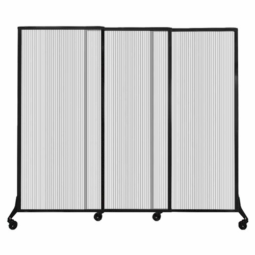 "QuickWall Sliding Portable Partition 7' x 5'10"" Clear Fluted Polycarbonate"