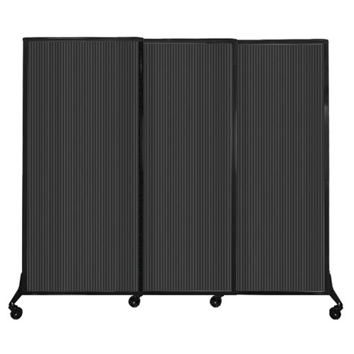 """QuickWall Sliding Portable Partition 7' x 5'10"""" Dark Gray Fluted Polycarbonate"""