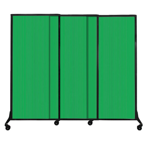 "QuickWall Sliding Portable Partition 7' x 5'10"" Green Fluted Polycarbonate"