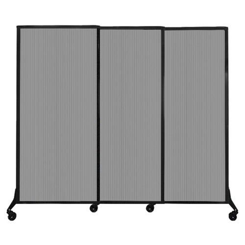 "QuickWall Sliding Portable Partition 7' x 5'10"" Light Gray Fluted Polycarbonate"