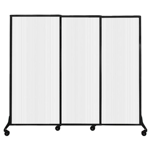 "QuickWall Sliding Portable Partition 7' x 5'10"" Opal Fluted Polycarbonate"