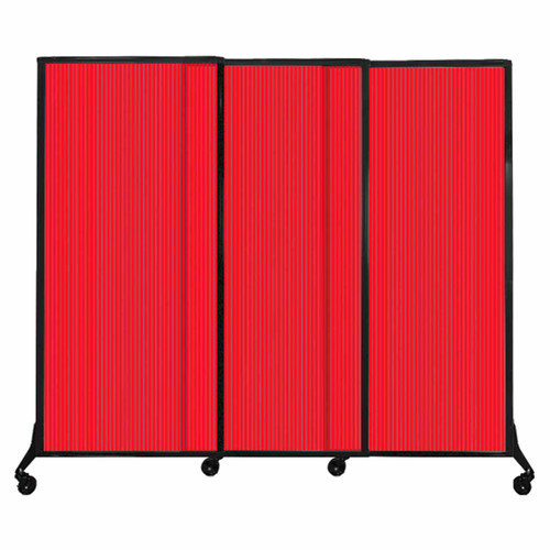 "QuickWall Sliding Portable Partition 7' x 5'10"" Red Fluted Polycarbonate"