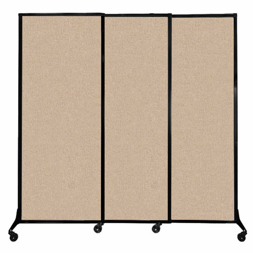 """QuickWall Sliding Portable Partition 7' x 6'8"""" Beige Fabric"""