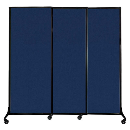 """QuickWall Sliding Portable Partition 7' x 6'8"""" Navy Blue Fabric"""