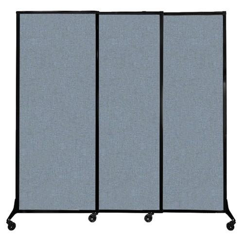"QuickWall Sliding Portable Partition 7' x 6'8"" Powder Blue Fabric"