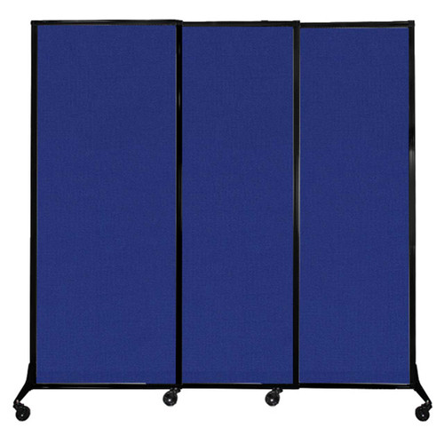 """QuickWall Sliding Portable Partition 7' x 6'8"""" Royal Blue Fabric"""