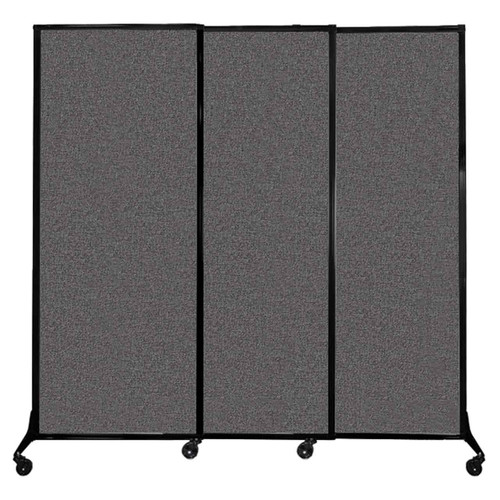 "QuickWall Sliding Portable Partition 7' x 6'8"" Charcoal Gray Fabric"