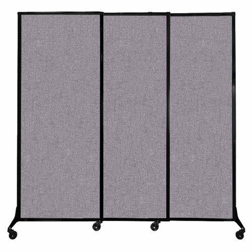 "QuickWall Sliding Portable Partition 7' x 6'8"" Cloud Gray Fabric"