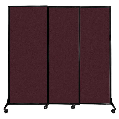 """QuickWall Sliding Portable Partition 7' x 6'8"""" Cranberry Fabric"""