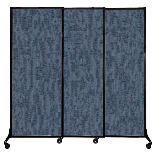 """QuickWall Sliding Portable Partition 7' x 6'8"""" Ocean Fabric"""