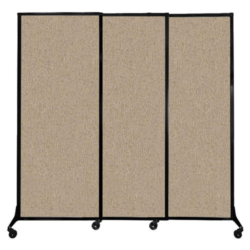 """QuickWall Sliding Portable Partition 7' x 6'8"""" Rye Fabric"""