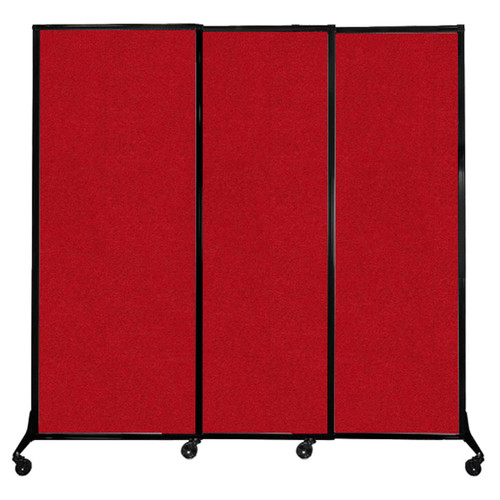 """QuickWall Sliding Portable Partition 7' x 6'8"""" Red Fabric"""