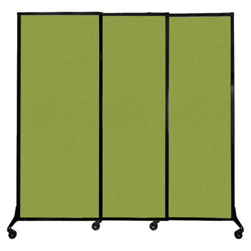 """QuickWall Sliding Portable Partition 7' x 6'8"""" Lime Green Fabric"""
