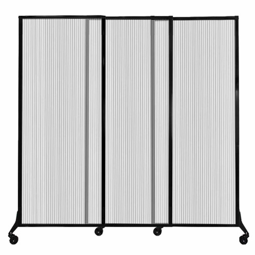 """QuickWall Sliding Portable Partition 7' x 6'8"""" Clear Fluted Polycarbonate"""