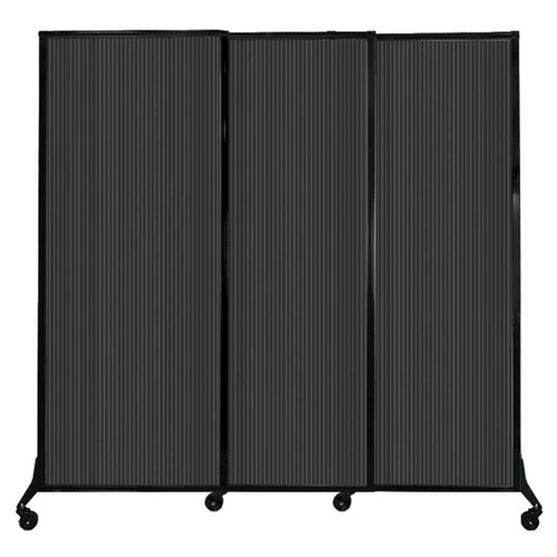 """QuickWall Sliding Portable Partition 7' x 6'8"""" Dark Gray Fluted Polycarbonate"""