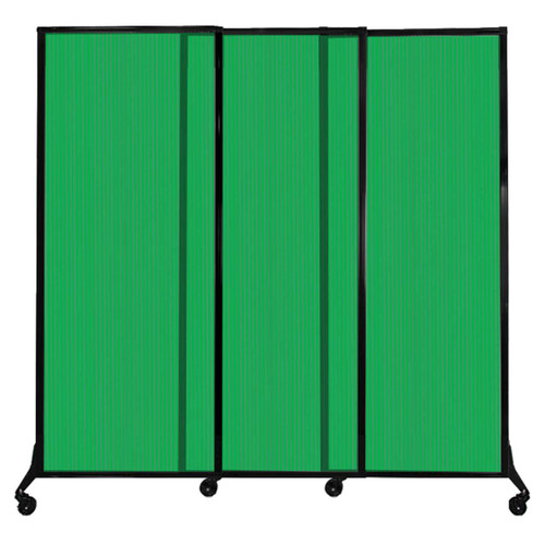 """QuickWall Sliding Portable Partition 7' x 6'8"""" Green Fluted Polycarbonate"""