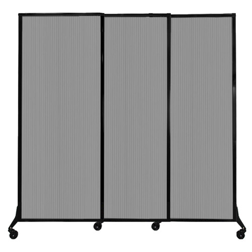 """QuickWall Sliding Portable Partition 7' x 6'8"""" Light Gray Fluted Polycarbonate"""