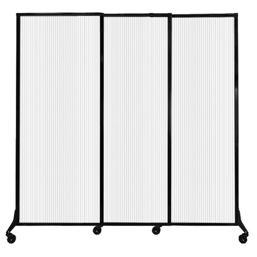 """QuickWall Sliding Portable Partition 7' x 6'8"""" Opal Fluted Polycarbonate"""
