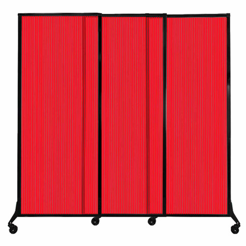 """QuickWall Sliding Portable Partition 7' x 6'8"""" Red Fluted Polycarbonate"""