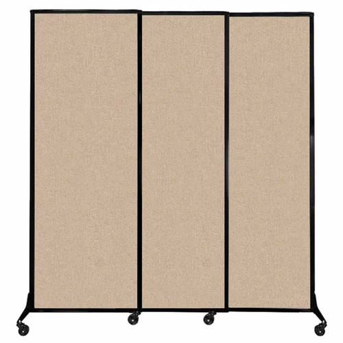 """QuickWall Sliding Portable Partition 7' x 7'4"""" Beige Fabric"""